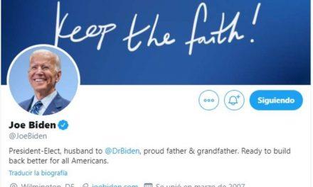 Joe Biden modificó su perfil Twitter y ya se define como presidente electo