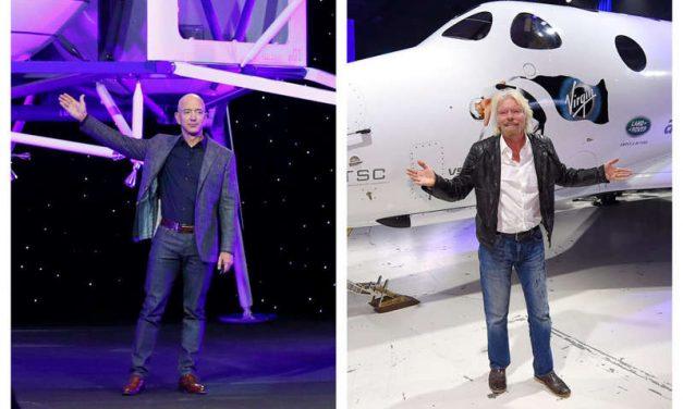 Multimillonarios se lanzan al espacio en sus propios cohetes